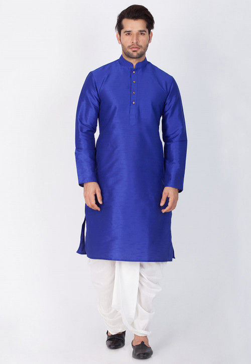 Solid Color Dupion Silk Dhoti Kurta in Royal Blue