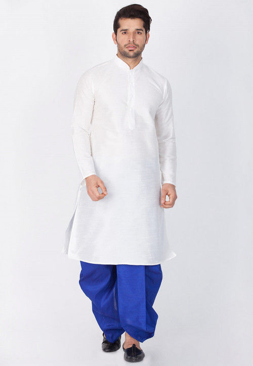 Solid Color Dupion Silk Dhoti Kurta in White