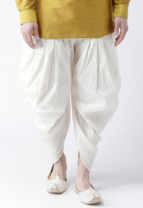 Solid Color Dupion Silk Dhoti Pant in Off White