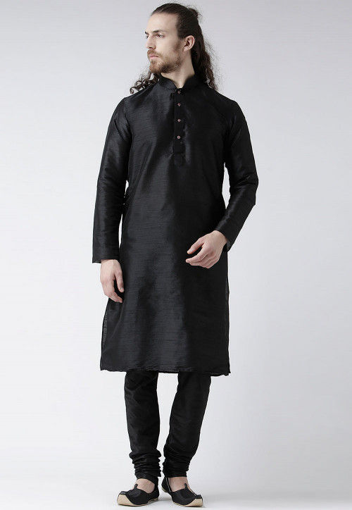 Solid Color Dupion Silk Kurta Set in Black