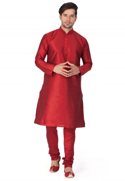 Solid Color Dupion Silk Kurta Set in Maroon