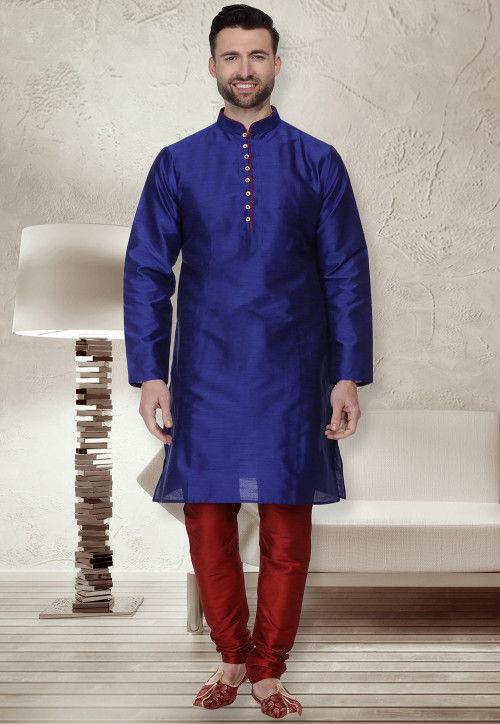 Solid Color Dupion Silk Kurta Set in Royal Blue