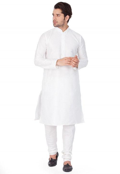 Solid Color Dupion Silk Kurta Set in White