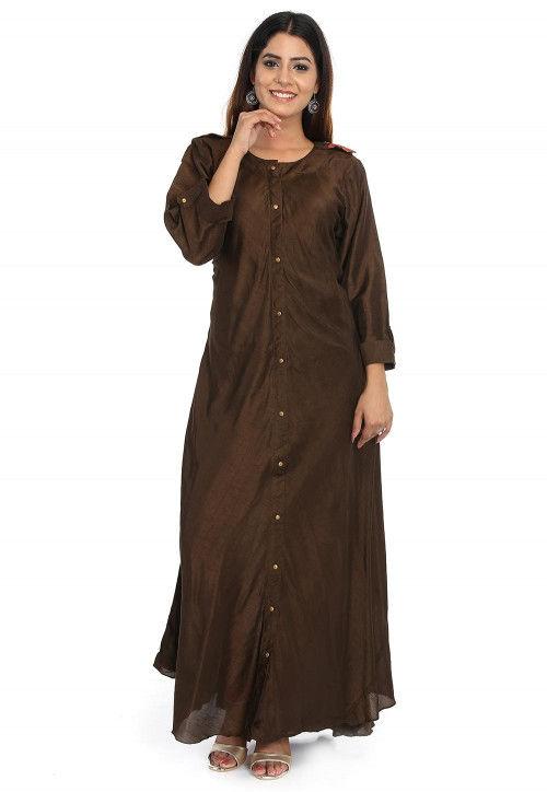 Solid Color Dupion Silk Long Kurta in Dark Brown