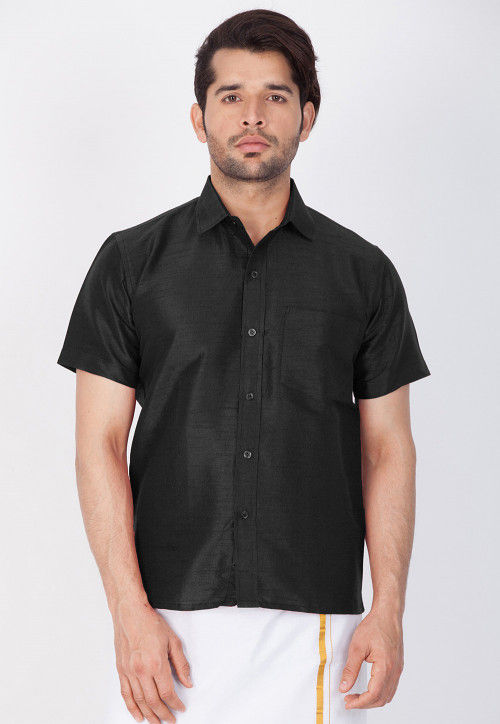 Solid Color Dupion Silk Shirt in Black