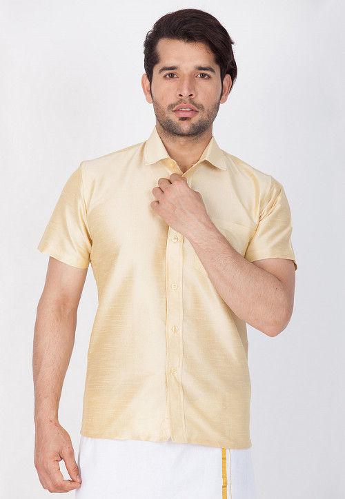 Solid Color Dupion Silk Shirt in Light Beige