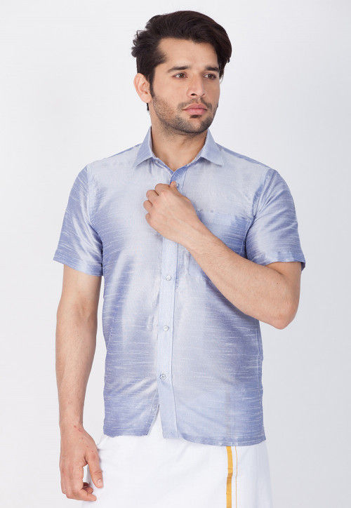 Solid Color Dupion Silk Shirt in Light Blue