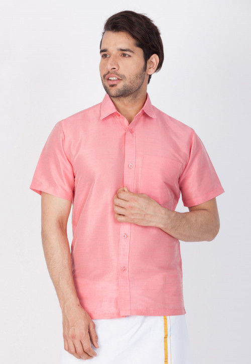 Solid Color Dupion Silk Shirt in Pink