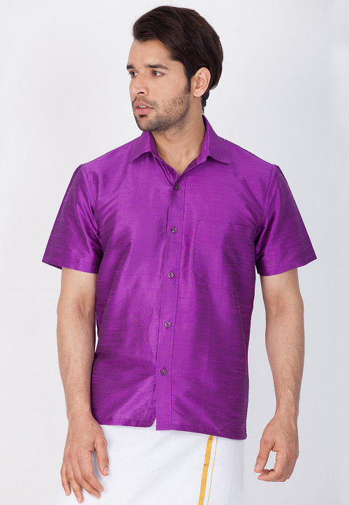 Solid Color Dupion Silk Shirt in Purple