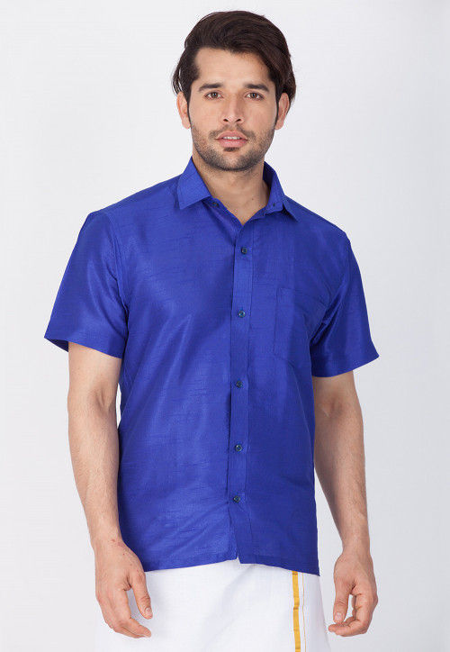 Solid Color Dupion Silk Shirt in Royal Blue