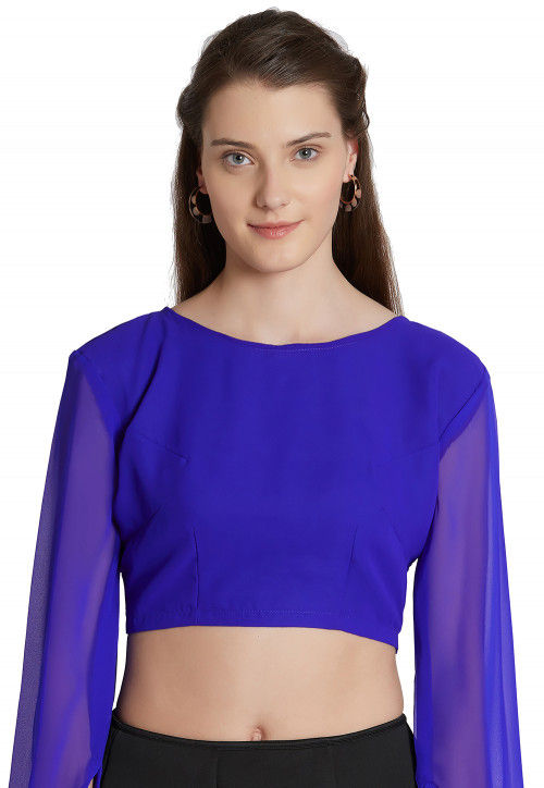 Solid Color Georgette Blouse in Indigo Blue