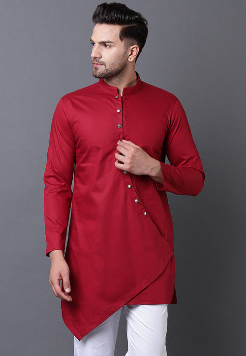 Solid Color Pure Cotton Asymmetric Kurta in Maroon