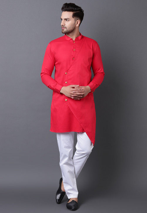 Solid Color Pure Cotton Asymmetric Kurta Set in Coral Red