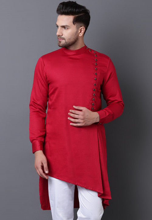 Solid Color Pure Cotton Asymmetric Pleated Kurta in Red