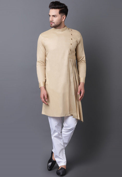 Solid Color Pure Cotton Asymmetric Pleated Kurta Set in Beige