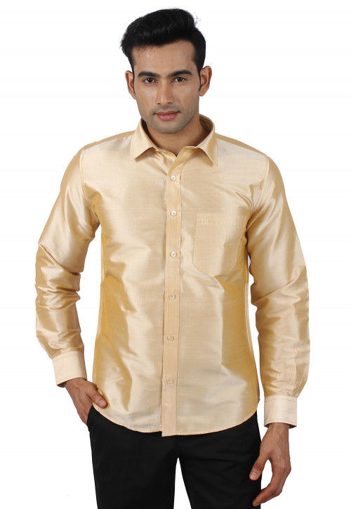 Solid Color Raw Silk Shirt in Beige