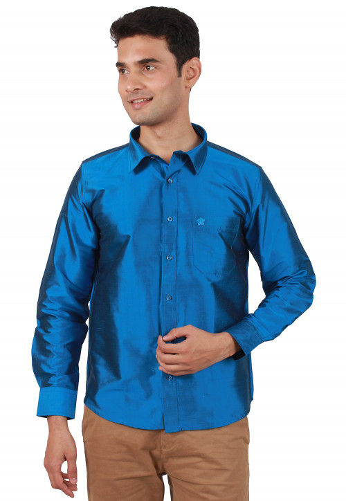 Solid Color Raw Silk Shirt in Blue