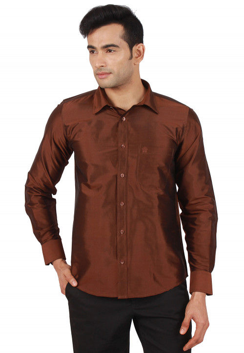 Solid Color Raw Silk Shirt in Dark Brown