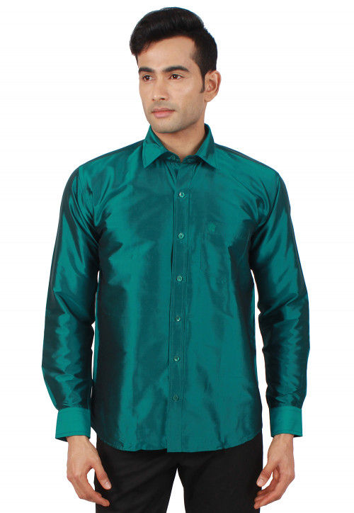 Solid Color Raw Silk Shirt in Dark Teal Green