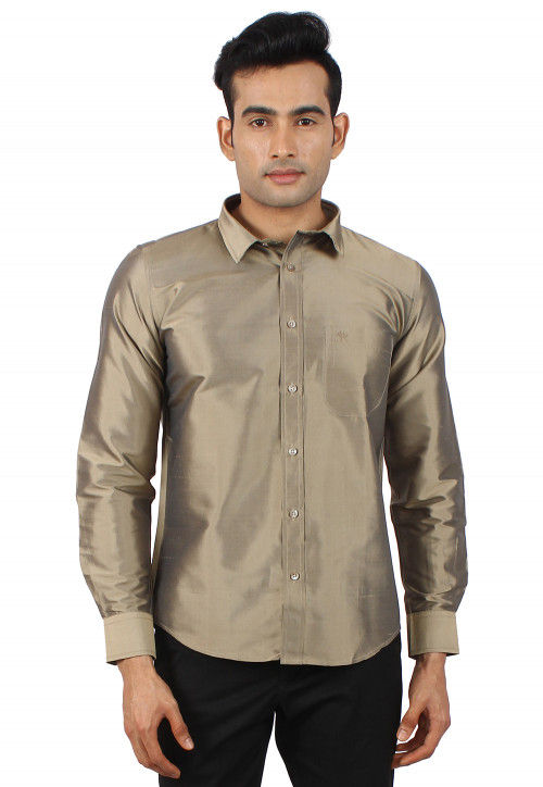 Solid Color Raw Silk Shirt in Fawn