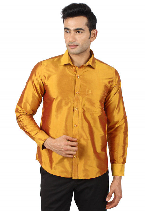 Solid Color Raw Silk Shirt in Mustard