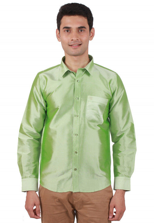 Solid Color Raw Silk Shirt in Pastel Green