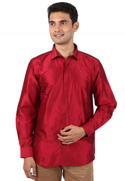 Solid Color Raw Silk Shirt in Red