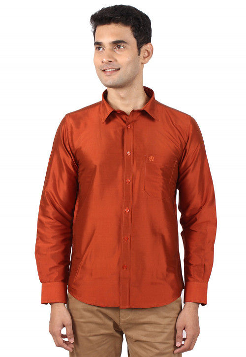 Solid Color Raw Silk Shirt in Rust