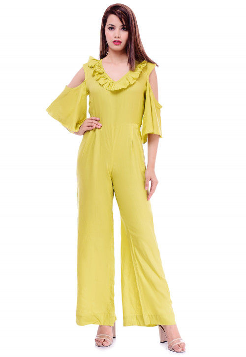 best service new lifestyle cheap Solid Color Rayon Jumpsuit in Neon Green : TJW1096