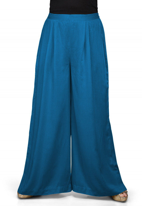 Solid Color Rayon Palazzo in Teal Blue