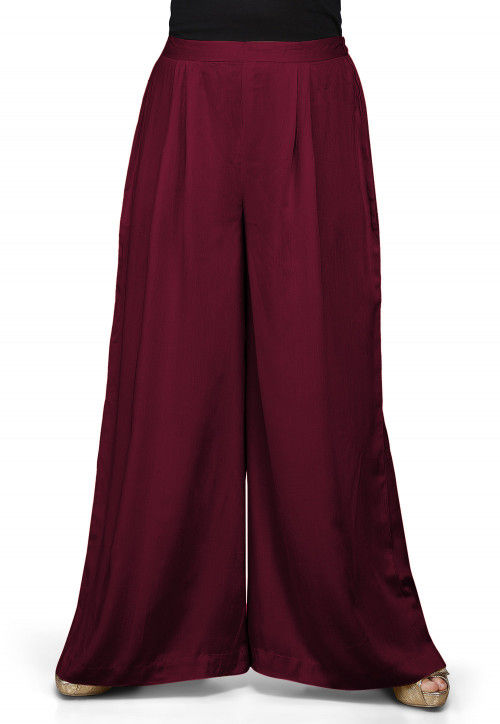 Solid Color Rayon Palazzo in Wine