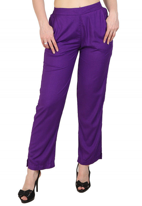 Solid Color Rayon Pant in Purple