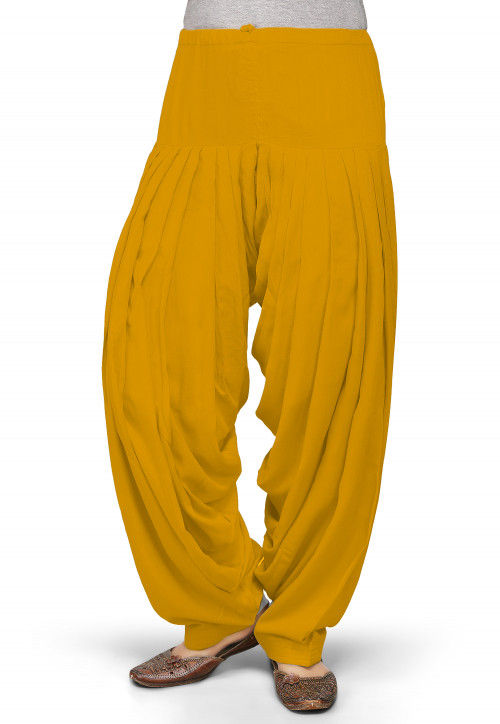 Solid Color Rayon Patiala in Mustard