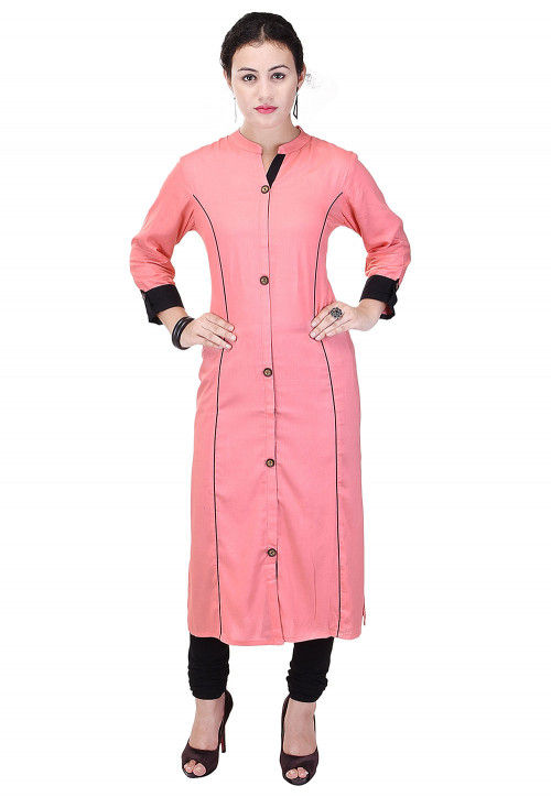 Solid Color Rayon Straight Kurta in Peach