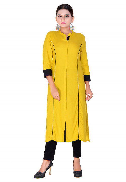 Solid Color Rayon Straight Kurta in Yellow