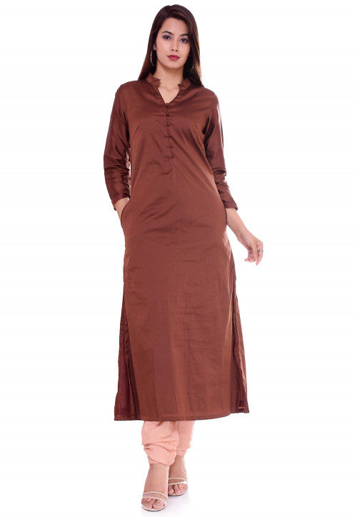 Solid Color Taffeta Silk Straight Kurta in Brown