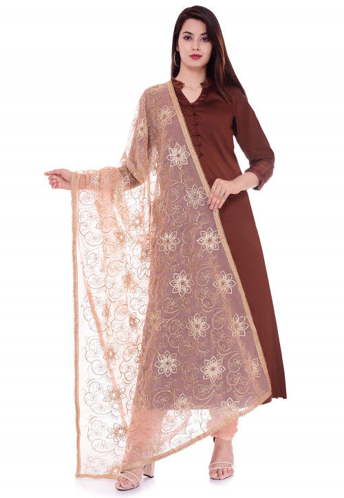Solid Color Taffeta Silk Straight Suit in Brown