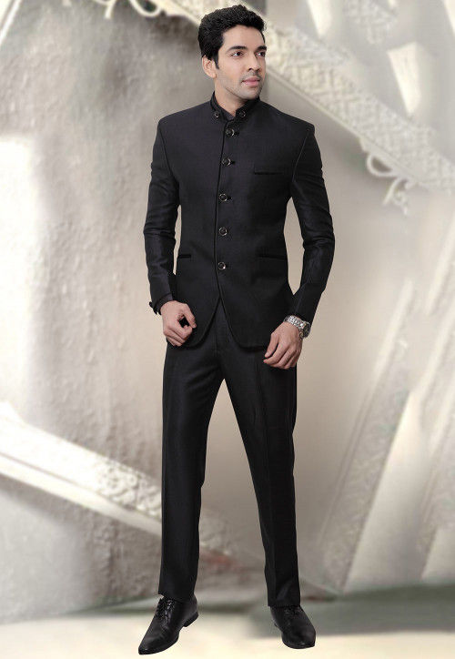 Solid Color Terry Rayon Jodhpuri Suit in Black