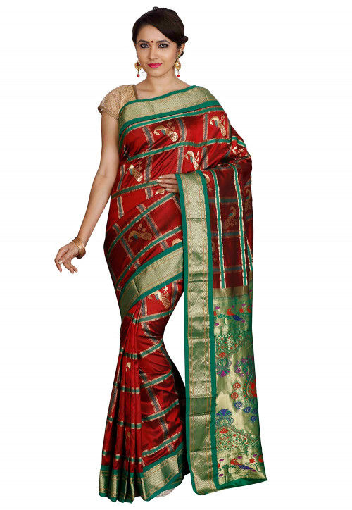 Pure Paithani Silk Saree in Maroon