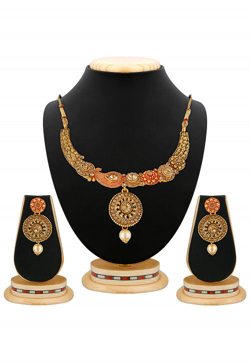 Stone Studded Peacock Style Necklace Set