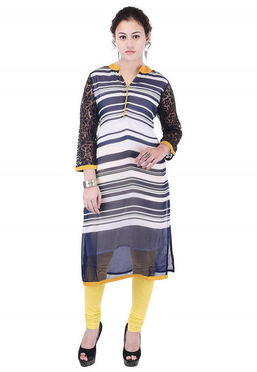 Stripe Printed Georgette Straight Kurta in Navy Blue and White