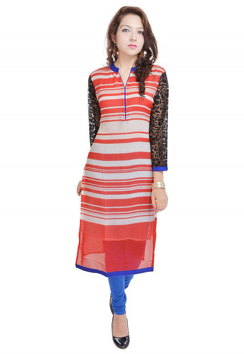 Stripe Printed Georgette Straight Kurta in Red and White