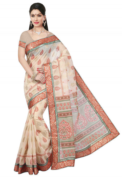 Printed Cotton Saree in Beige