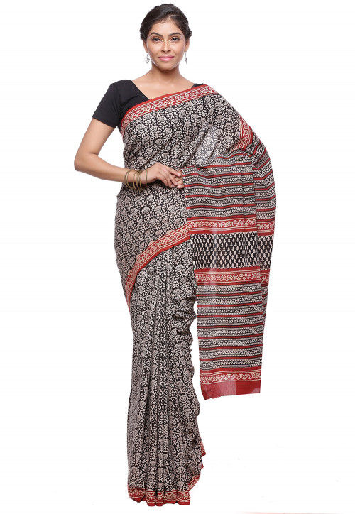 Block Printed Pure Cotton Saree in Black