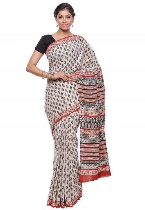 Block Printed Pure Cotton Saree in Beige