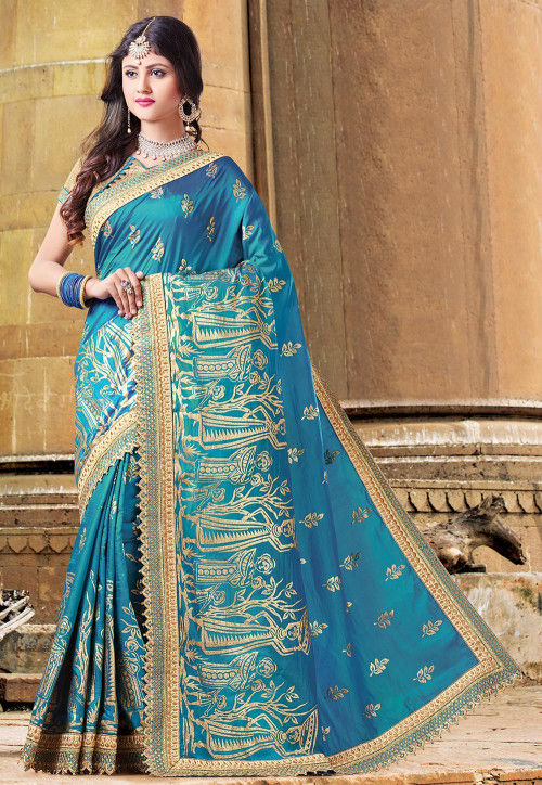 Foil Printed Art Silk Saree in Teal Blue