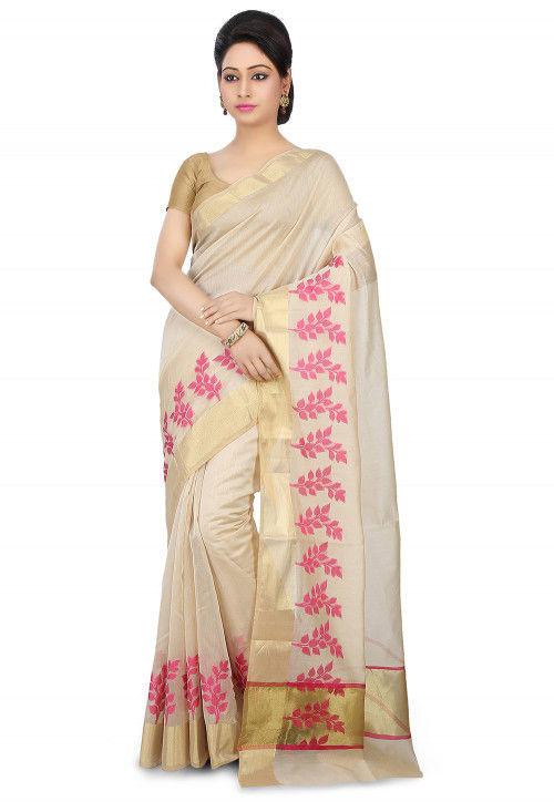 Woven Chanderi Silk Saree in Light Beige