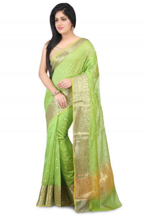 Woven Chanderi Silk Saree in Light Green