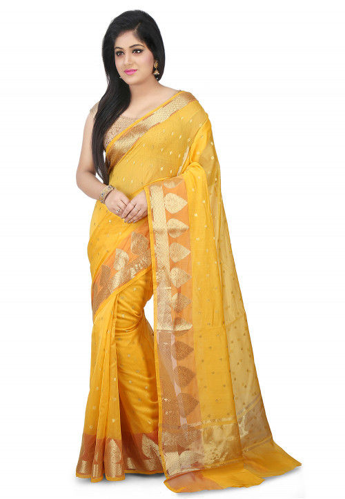 Woven Chanderi Silk Saree in Yellow