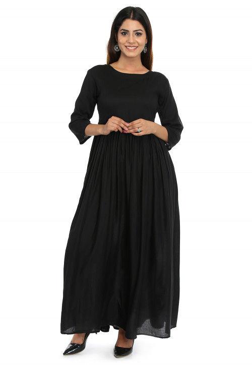 Tasseled Rayon Flared Kurta in Black